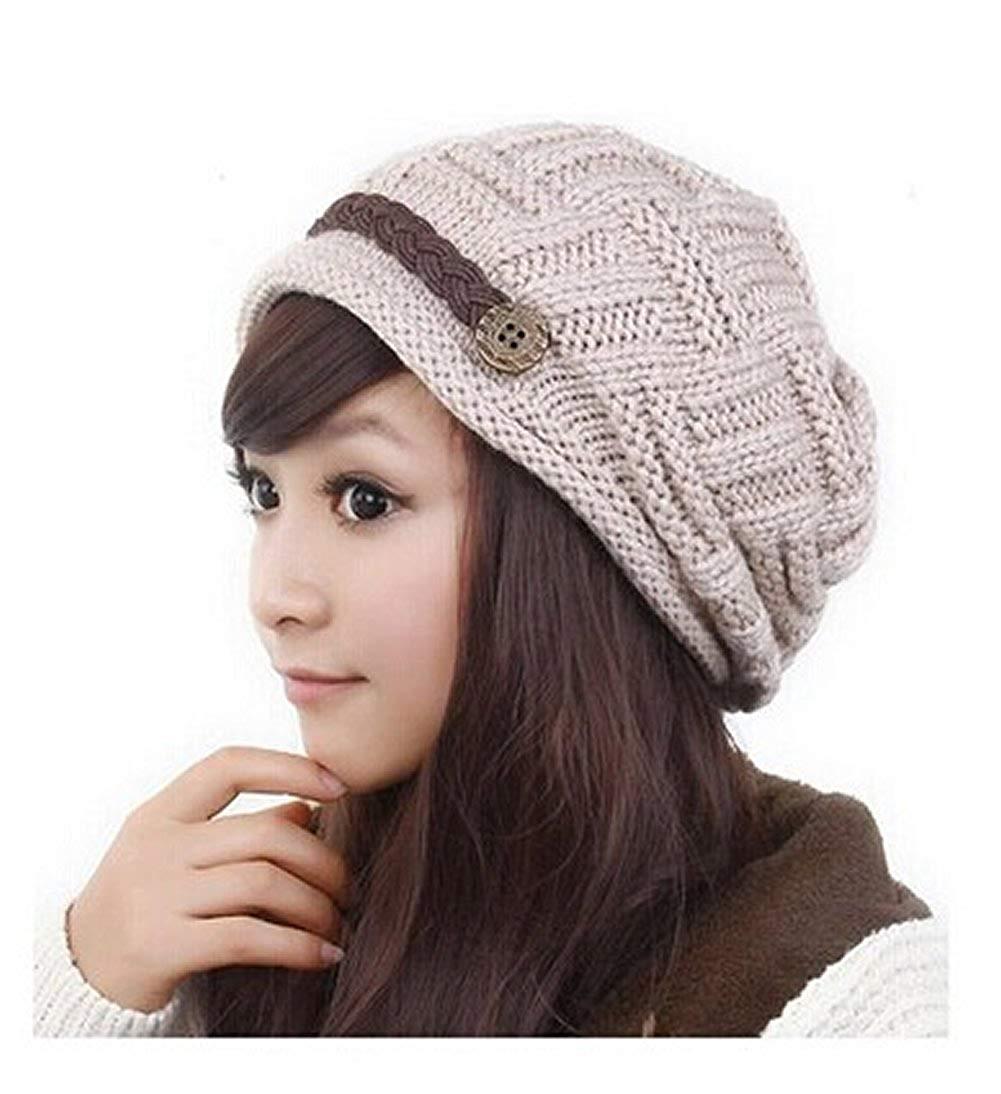 c5d5c2451a3 Get Quotations · Losuya® Fashion Women Knit Snow Hat Winter Snowboarding  Beanie Crochet Cap Hats (New Beige