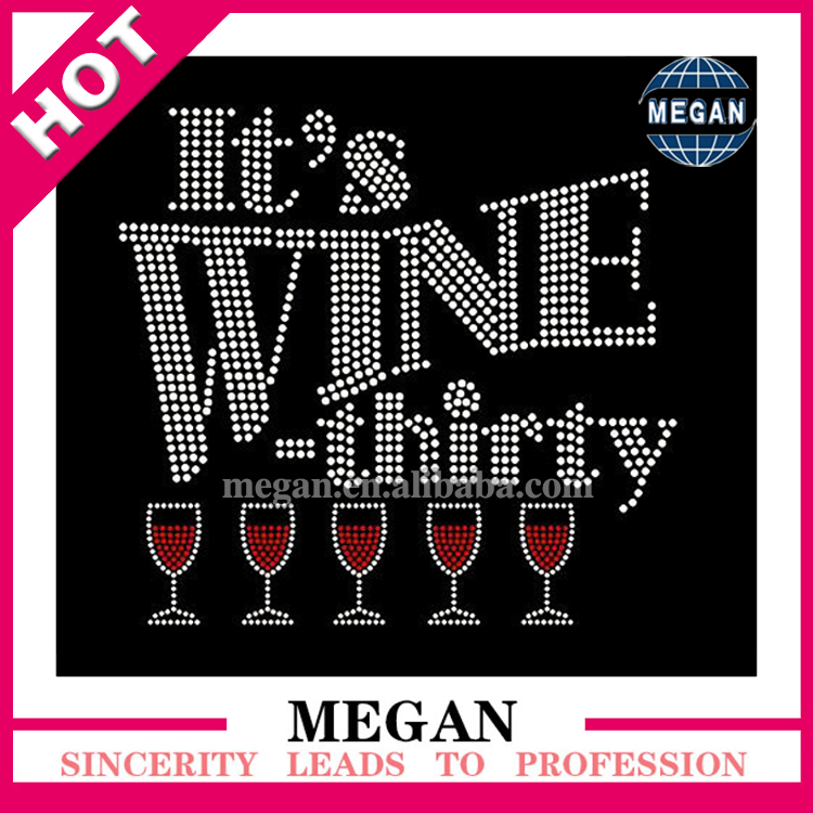 Hot Fix Wine Rhinestone Motif heat transfer iron on appliques for shirts