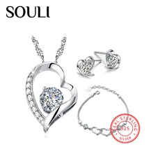 Fashion Cz Necklaces Earrings Sets, Heart Shaped 925 Sterling Silver Bridal Jewelry Set