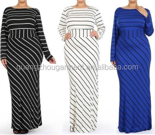 Plus Size Striped Black White Blue Slim Long Hourglass Mermaid Skirt