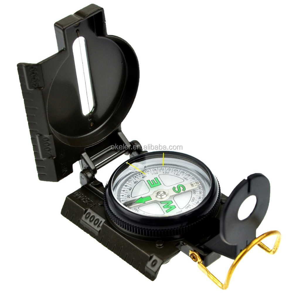 Army Green Portable Metal Military Marching Lensatic Camping Hiking Compass