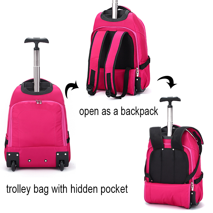Multi-use carry on flight bags/rose red luggage trolley bag backpacks with wheels