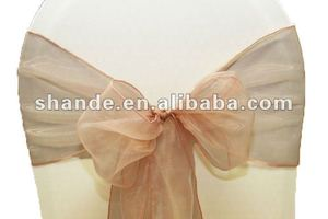 shinning peach organza chair cover sash/organza sash