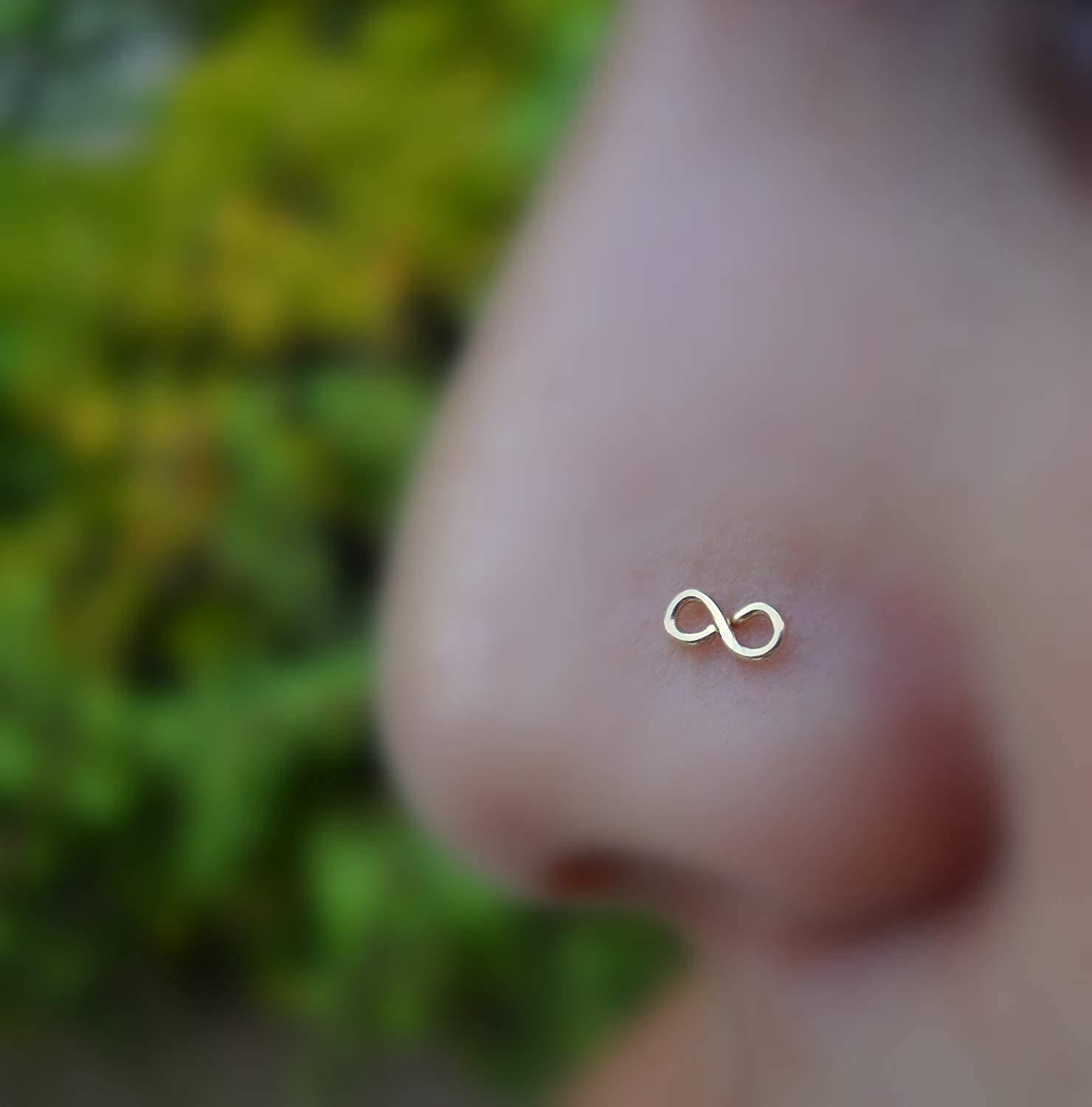 Nose Ring Stud - Cartilage Tragus Earring - 14K Yellow/Rose/White Gold - Infinity -22G to 16G Post