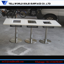 Restaurant hot pot table/Grey marble table for restaurant Square