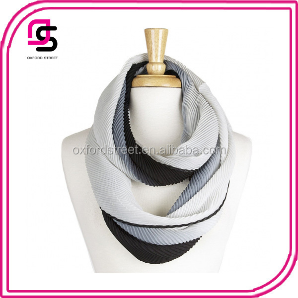 Two Tone Pleated Infinity Scarf