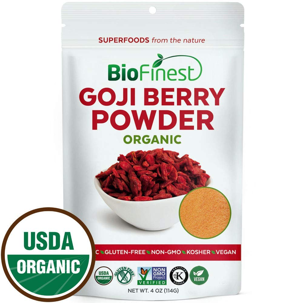 Biofinest Goji Berry (Wolfberry) Juice Powder - 100% Pure Freeze-Dried Superfood - USDA Certified Organic Kosher Vegan Raw Non-GMO - Boost Energy Eye Health - Smoothie Beverage Blend (4 oz Resealable)