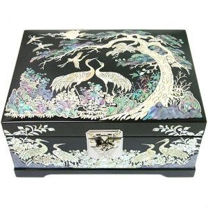 Korean Black Wooden Lacquerware Jewelry Box Mother Of Pearl Nacre