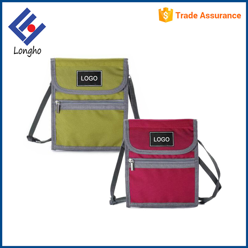 Promotional velcro reinforced card pouch purse clear PVC pocket safety slim wallet with detachable shoulder / neck strap