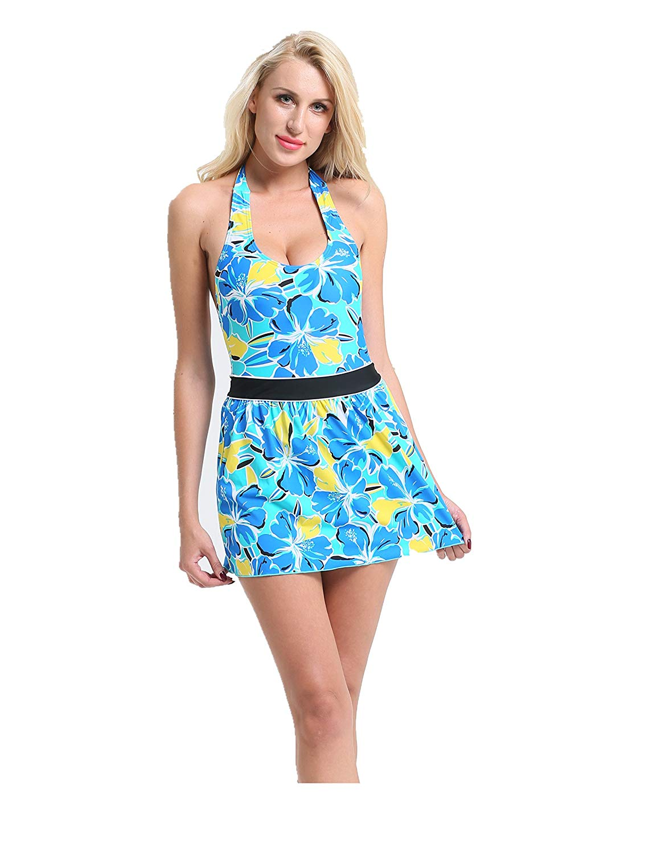 dbdff6c5a20d9 Ladies Women Swimsuits Swimdress with Short Bathing Suits Swimwear Aqua  Blue Yellow Printed Halter Straps ONE Piece Fashion