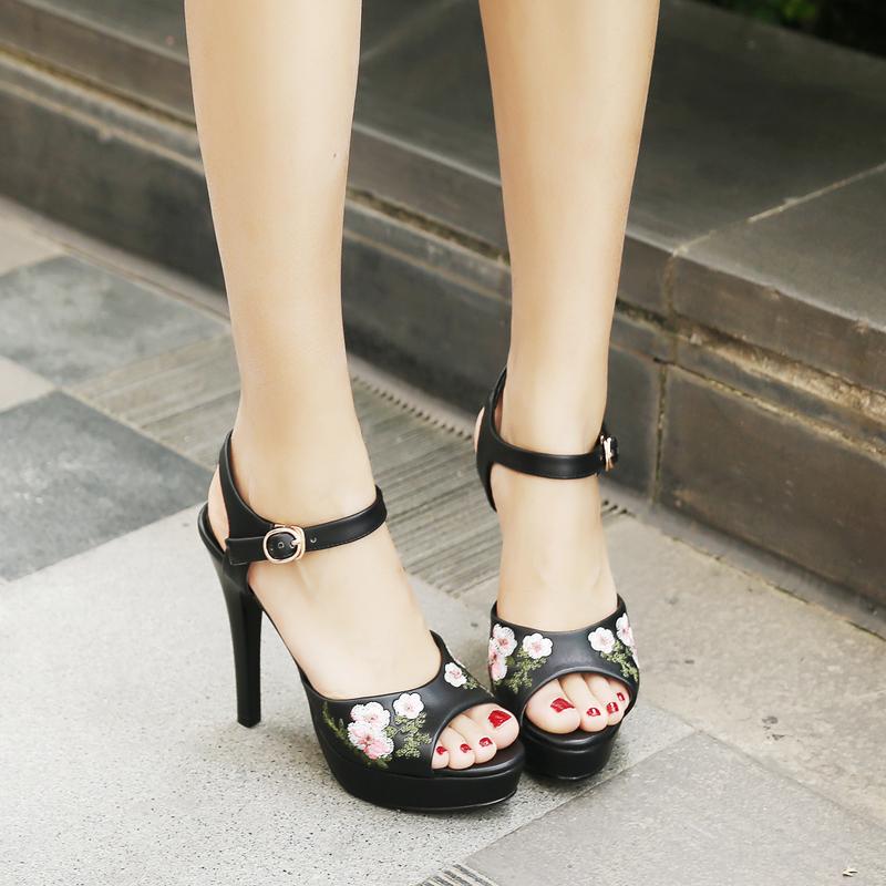 d1a6a6dfa197b Lady Girls Floral Pattern Fancy High Heel Sandals Summer Women Ankle Strap  Casual Dress Shoes