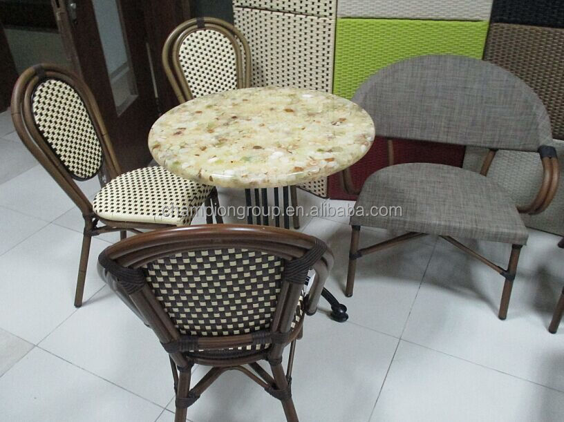 Cheap bamboo furniture rattan wicker cafe table chairs for Cheap cafe furniture