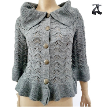 New Korean Stylish Ladies Fancy Gray Lapel Ruffle Knitting Pattern