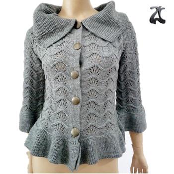 6c59d753e New Korean stylish ladies fancy gray lapel ruffle knitting pattern cardigan  sweaters design for women