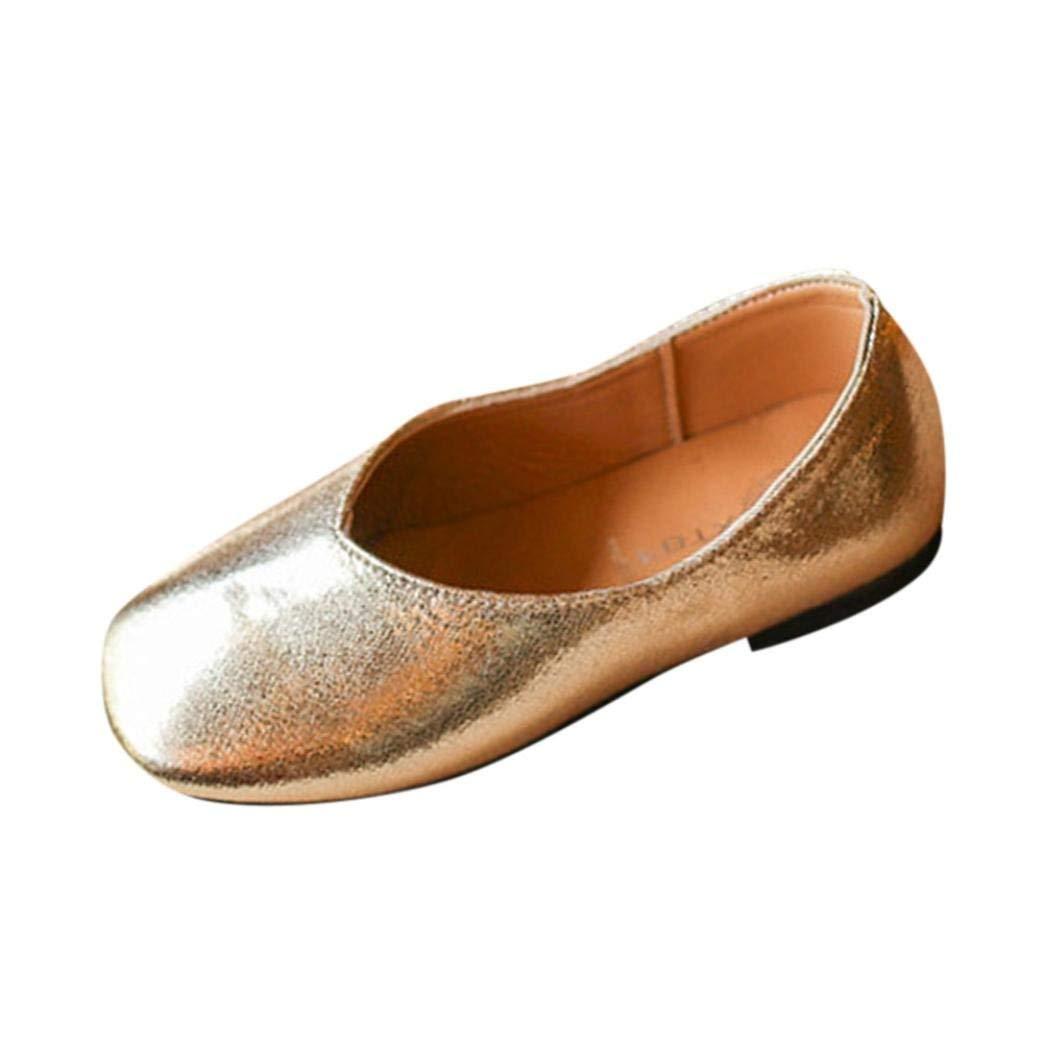Kintaz Kids Girls Bowknot Genuine Leather Cute Soft Dressy Mary Jane Flats shoes (Gold, Age:3.5-4T)