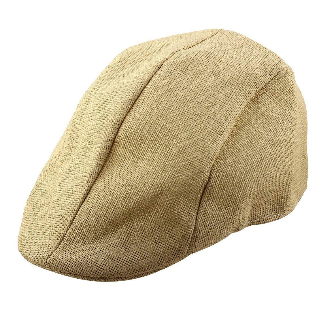 2706e76f42f27 Get Quotations · uxcell Men Women Straw Ivy Cap Cabbie Driving Golf Summer  Sun Mesh Flat Beret Hat