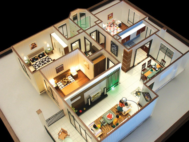 model house layout scale model 3d building model maker product on