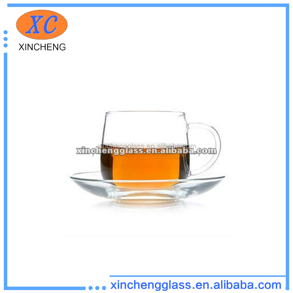 200ml 2012 new design crystal drinking hand-made clear glass tea cup and saucer with logo