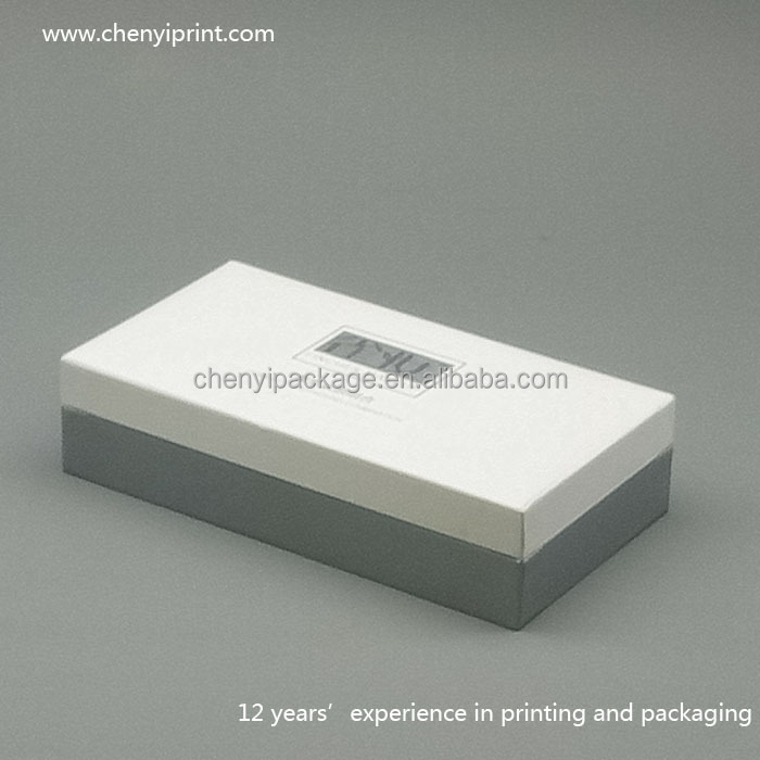 White lid grey base tray paperboard handmade cosmetics gift box