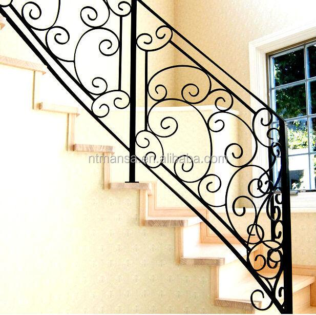 Hierro forjado barandas para escaleras interiores - Pasamanos de escaleras interiores ...