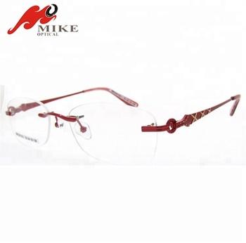 b049a09479ef 2019 rimless design optical glasses frames,new model metal eyeglasses frames  for women,red