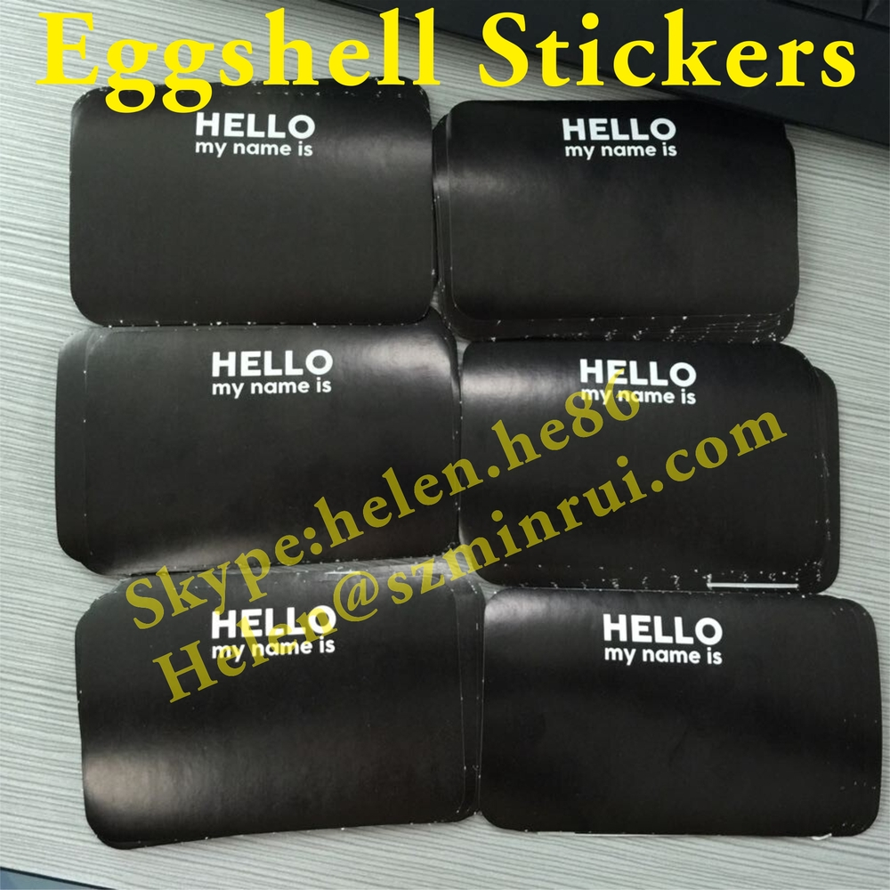 Custom 90x60mm Size Black Hello My Name Is Blank Style Vinyl Eggshell Stickers