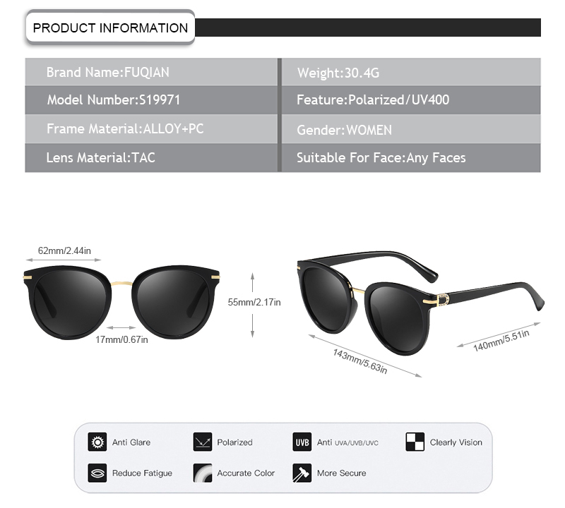 UV400 protection classic female polarized sun glasses holiday cyclo sunglasses women