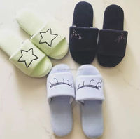 House shoes embroidery lady open toe slippers velour indoor warm slippers