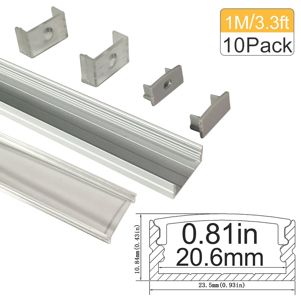 """LED Aluminum Channel with Clear Cover, LightingWill 10 Pack 3.3Ft/1M U Shape Surface Mount (Section Size:0.40"""" x 0.91"""") Anodized Silver Channel System for <20mm LED Strip Lights with Caps+Clips U04"""
