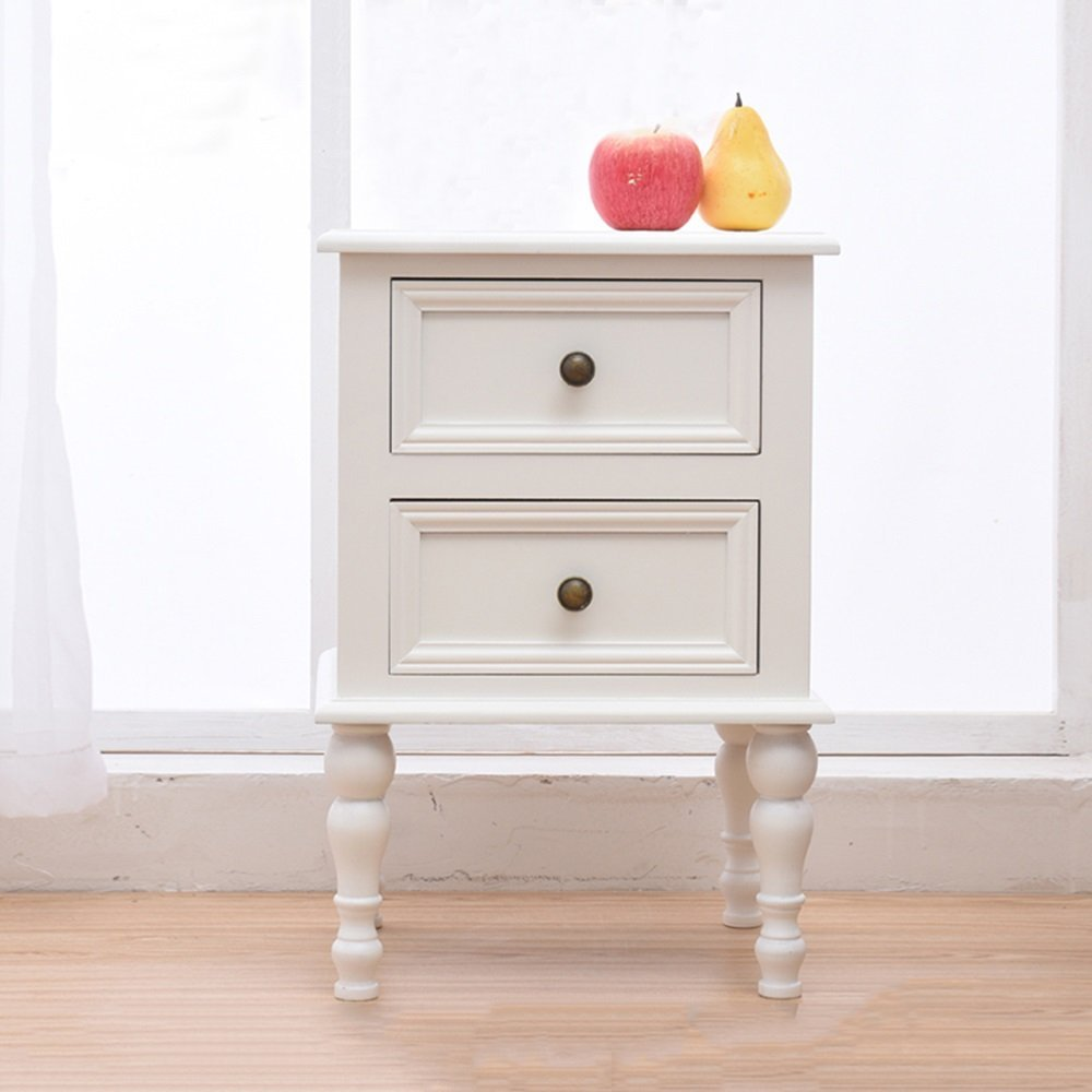 PM-Nightstands Solid Wood Bedside Cabinet Locker Storage Cabinet European Narrow Cabinet Pine Wood Cabinet (Color : Pure white, Size : 353153)