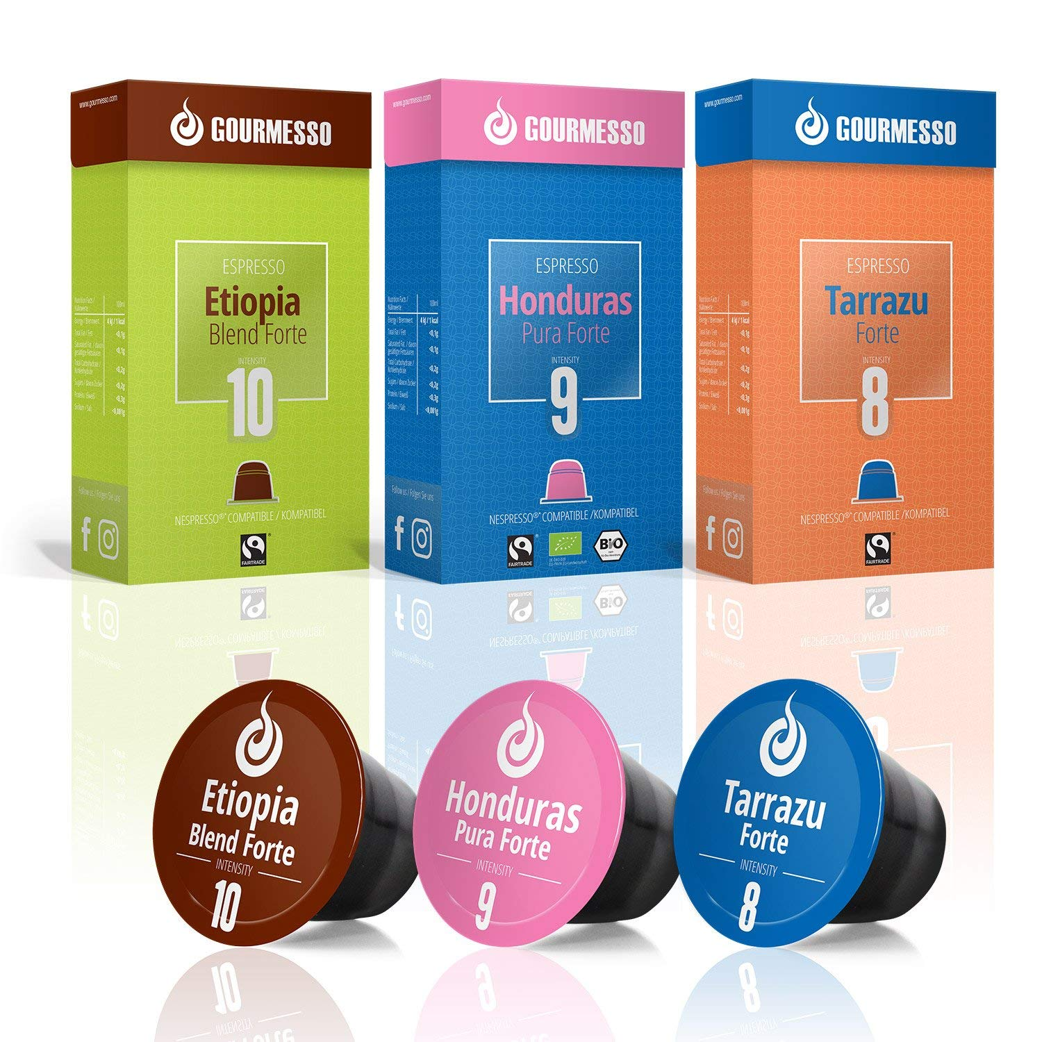 Gourmesso High Intensity Espresso Bundle - 60 High Intensity Coffee Capsules Nespresso Compatible 100% Fair Trade | Includes Organic and Dark Roast Espresso Pods Variety Pack