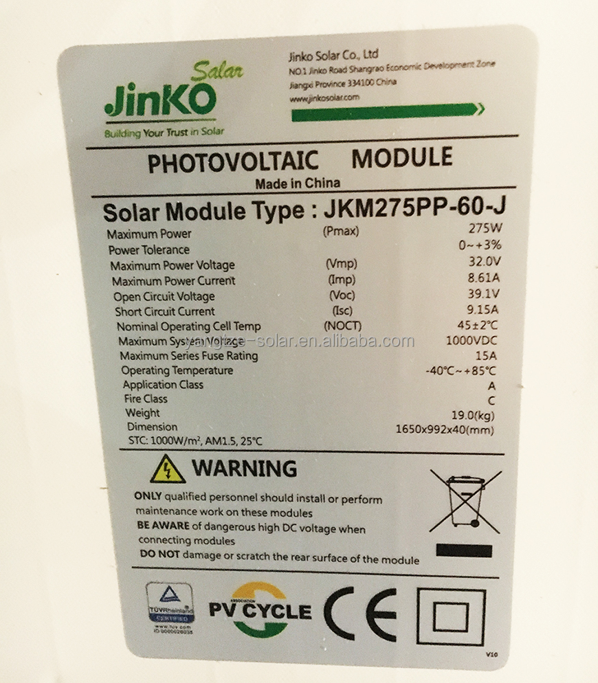 Jinko Solar high quality 250w 260w 270w pv panel solar