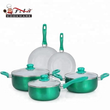 8pcs Eco-friendly pot aluminium ceramic cookware set with light color handle