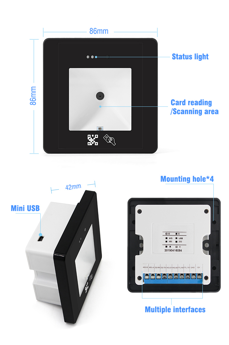 Multi Interface IC ID Card Reader 1D 2D QR Codr Barcode Scanner Engine HM20