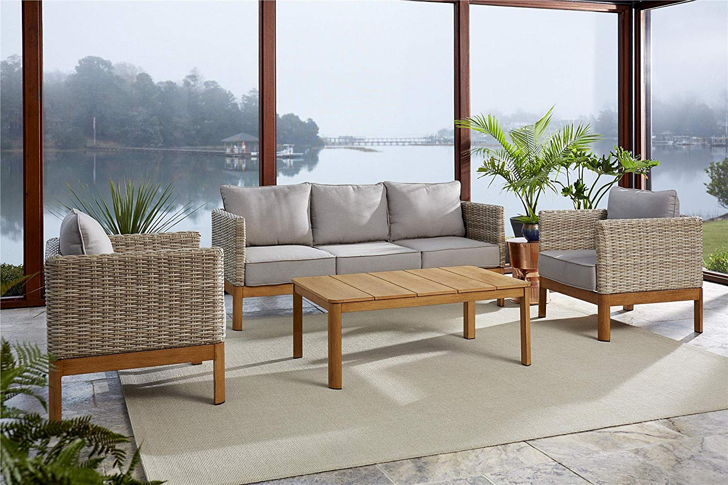 6fb8b5a91f81 Get Quotations · Cosco Outdoor Furniture Set, Coffee Table, Sofa, Chair  Set, 4 Piece,