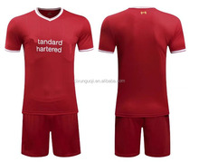 2017/2018 season club team red home liverpooll soccer uniform full set white away soccer jerseys with shorts