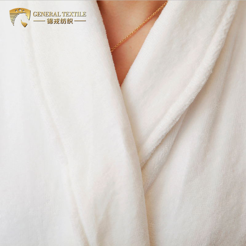 JR060 Shawl Collar 100% Cotton White Velour Hotel Bathrobe in Stock