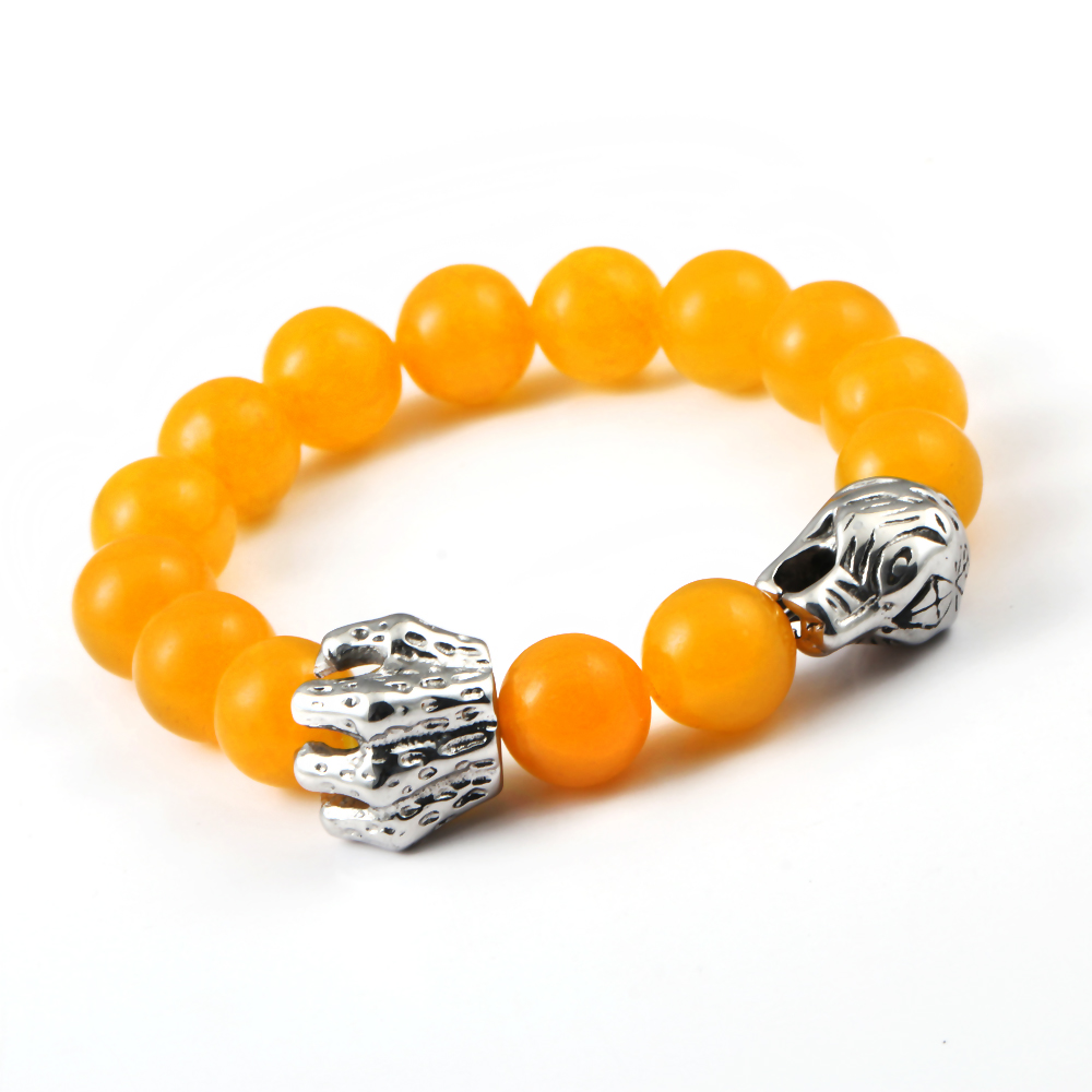 BC Jewelry Fashion 2015 Yellow Agate Beads Bracelets With Silver Claw Bead