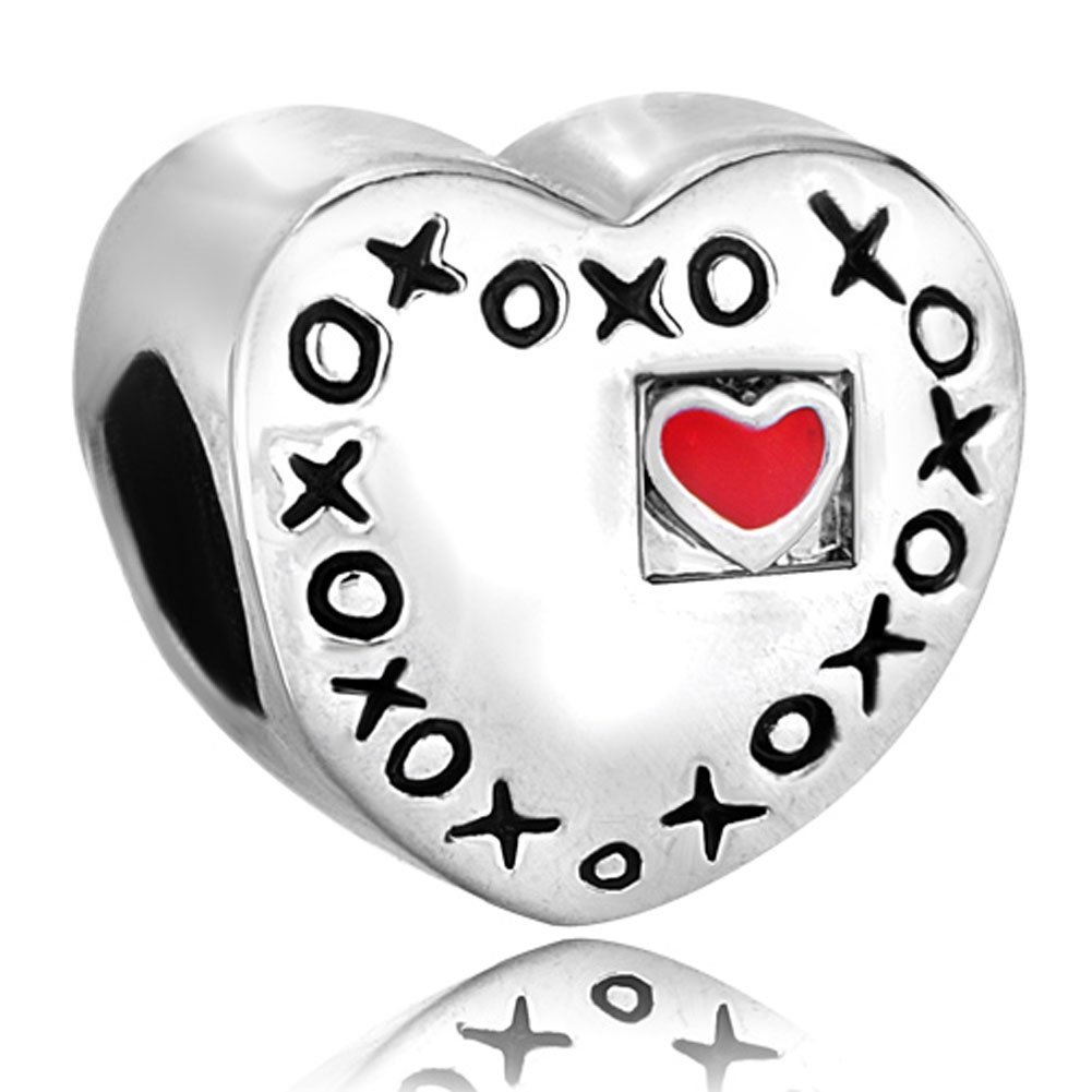 Silver Plated Pugster Red Heart Xoxo Hugs & Kisses Love Charm Lover Bead Fit Pandora Charm Bracelet