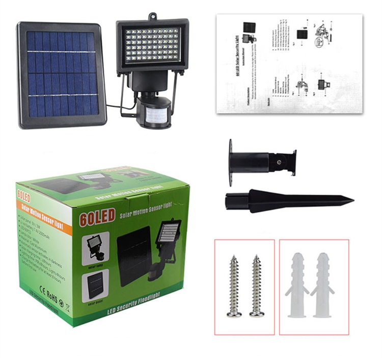 Solar powered outdoor Spotlight led Garden 60 LED Floodlight PIR Motion Sensor light