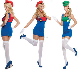 Women Sexy Ladies Super Mario and Luigi Brothers Fancy Dress Costumes CW-2048  sc 1 st  Alibaba & Women Sexy Ladies Super Mario And Luigi Brothers Fancy Dress ...