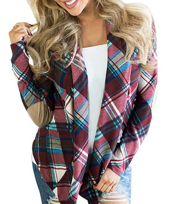cz38034w-1 Wholesale Fashion Red/<strong>Black</strong> Printing Plaid <strong>Long</strong> Sleeves Loose <strong>Cardigan</strong> Women <strong>Cardigan</strong>