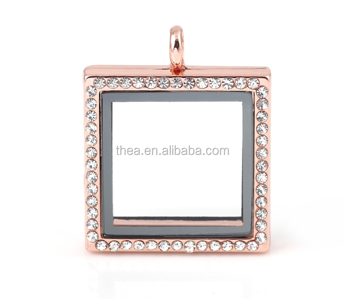 Floating glass living memory locket&square locket rose gold new products for 2015