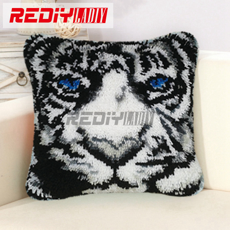 New 3D Latch Hook Pillow Kits White Tiger Hot DIY