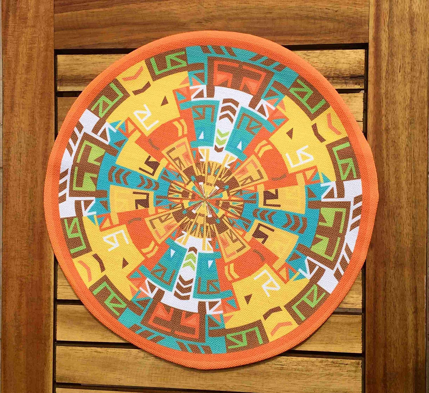 "TekgulDesign Mayan Placemats,%100 Polyester, Handmade, Diameter: 35cm (14""), Crease Resistant and Stain-Proof Fabric, Modern and Colorful Ultra HD Graphics."