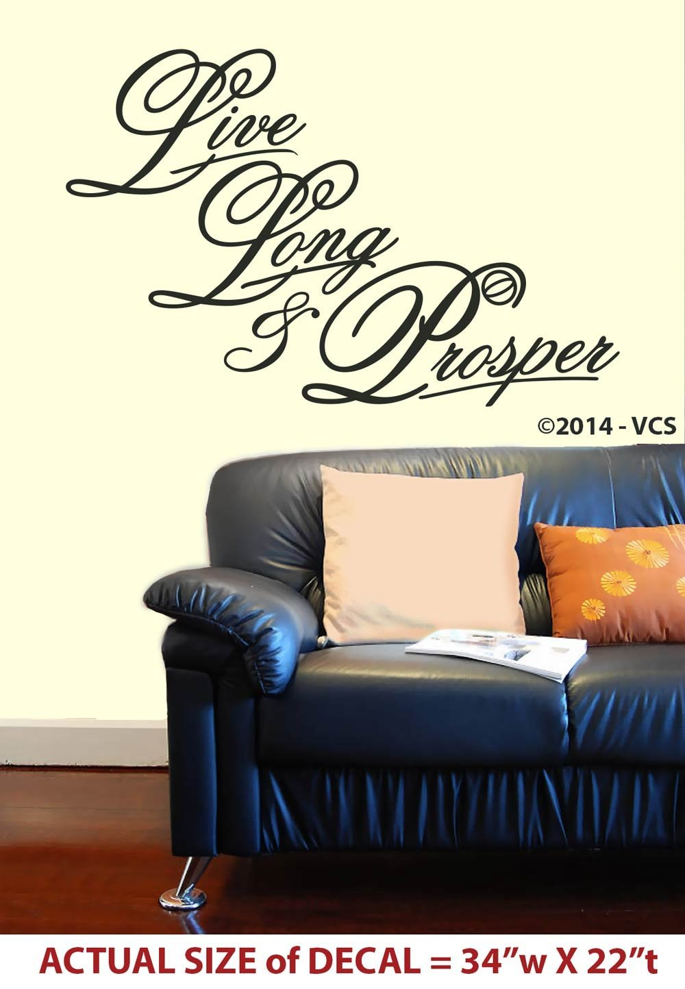 """Live Long & Prosper"" LARGE Wall Décor Sticker - Die-Cut Vinyl Decal -- Star Trek parody on ""Live Laugh Love"" - Spock Insignia"