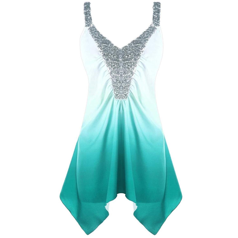 9ad9b0e5f666fa Leedford Women tops,Ladies Womens Casual Plus Size Sequins Ombre V-Neck  Print Tank