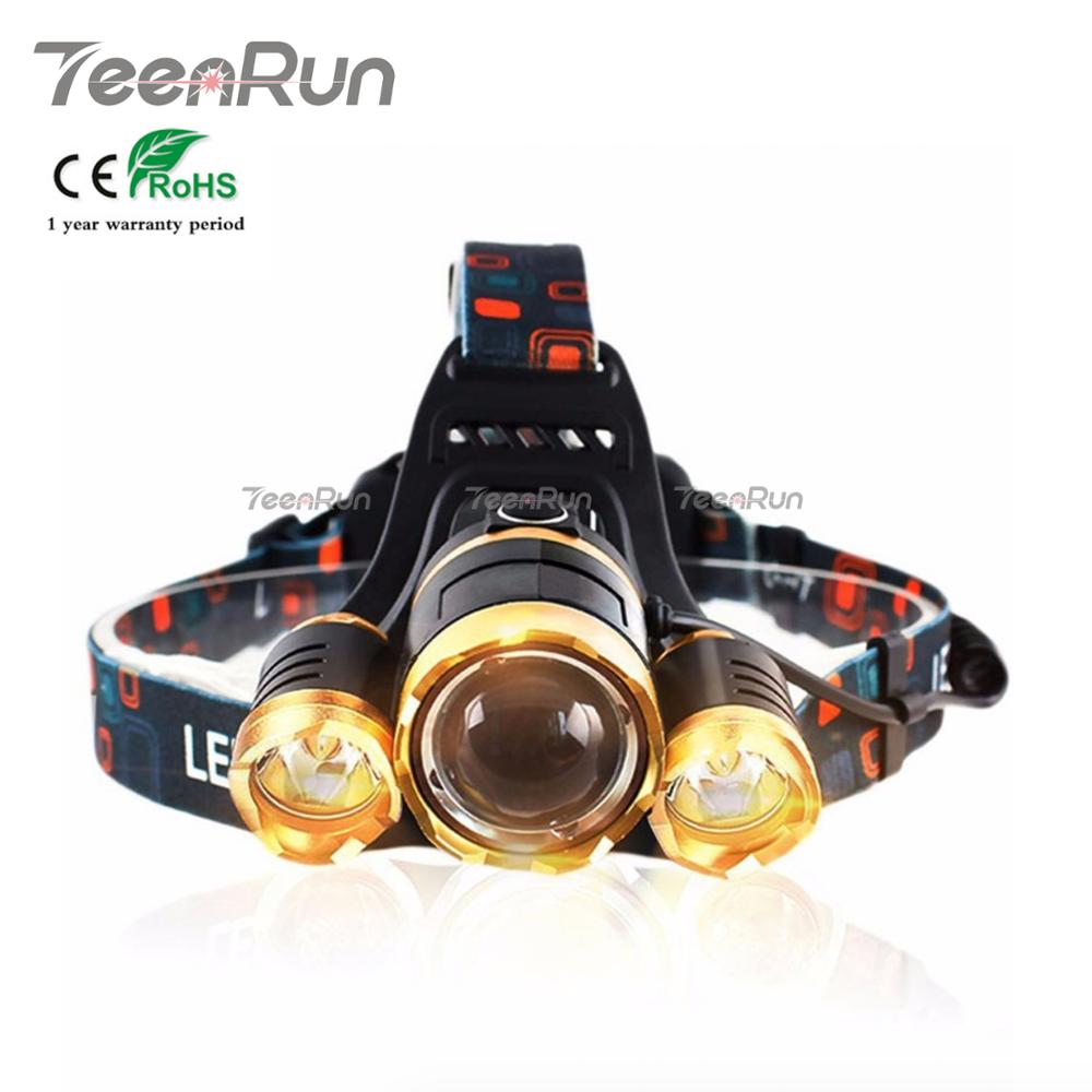 China Factory Outlet OEM 1000 1200 1800 6000 Lumen XML T6 USB Waterproof Rotate Zoom LED Rechargeable Headlamp