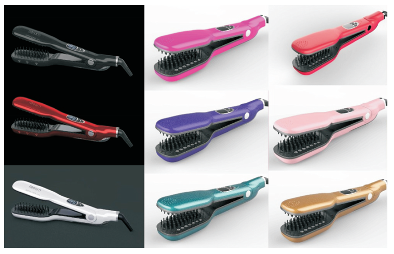 2018 Hot Sell Custom Steam Comb Electric Professional Ceramic Steam Hair Straightener Brush