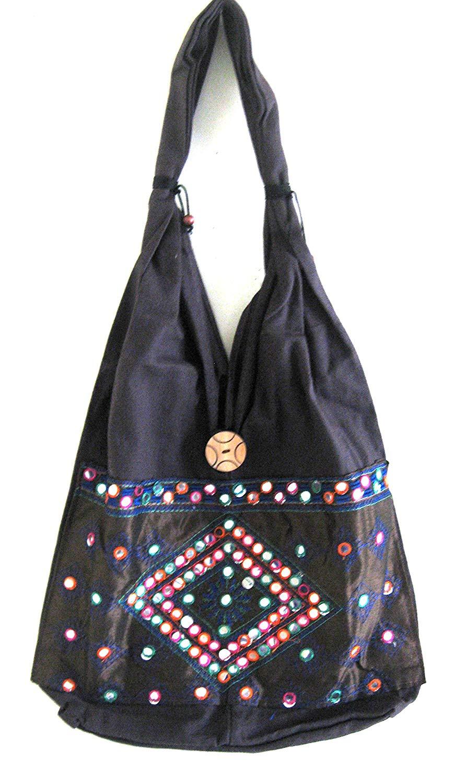 6b650bc65a5 Get Quotations · OMA Indian Boho Shoulder Sling Bag Brown Mirror Tote Cotton  Handbag, Indian Shoulder Bag